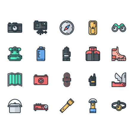 Adventure Outdoor and Camping Gear icon set, perfect for UI user interface on online store website or app
