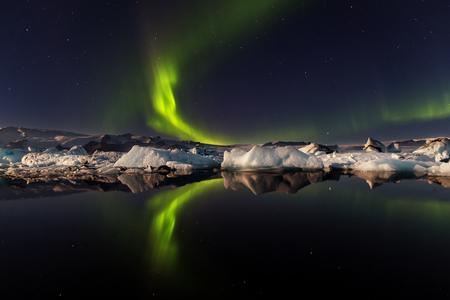 Aurora borealis at the glacier lagoon