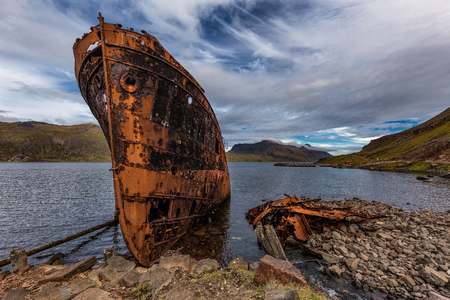 Shipwreck Iceland Stock Photo