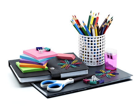 objects: School and office supplies isolated on white background