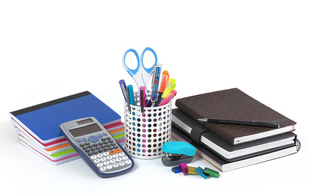School and office supplies isolated on white background photo