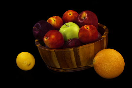 weight control: Antioxidant and Weight Control fruits isolated on black background Stock Photo