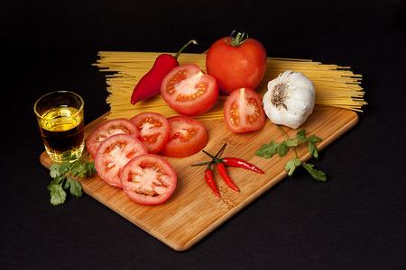 Italian Pasta Ingredients isolated on black background