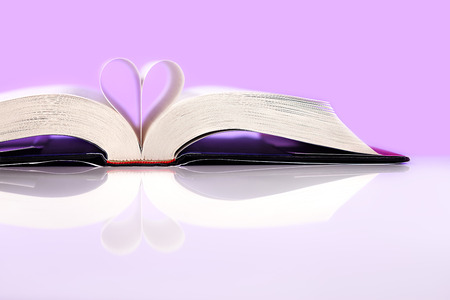 Book of love isolated on pink background  Stock Photo