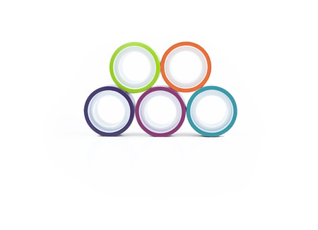 Multicolor rolling tapes isolated on white background
