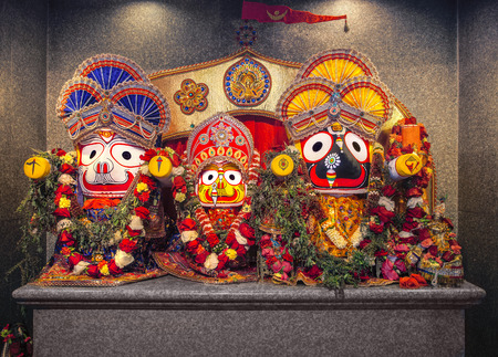 Jagannath idol with his elder brother Balabhadra and sister Subhadra, in Hindu Temple. Jagannath, believed to be an avatar of Lord Vishnu