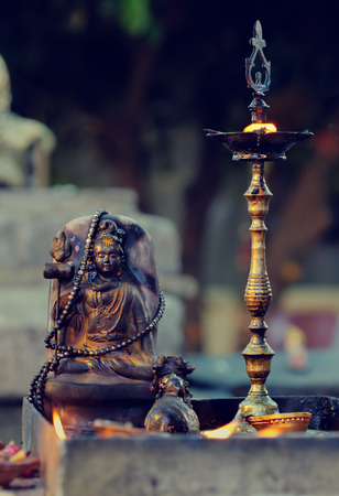 Diyas offered to Lord Shiva in Shivaratri or great night of Shiva at Hindu temple. Shivaratri is a Hindu festival celebrated annually on the day Shiva was married to the goddess Parvati.