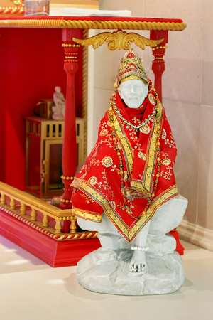 Sai Baba of Shirdi in Hindu temple. He was an Indian spiritual master, is regarded by his devotees as a saint, fakir, and satguru. On October 15, 1918, before his death, he said, Do not think I am dead and gone. You will hear me from my Samadhi and I sha