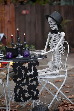 haunt: Skeletons first date. Halloween is a time when the spirits of the departed can return to the earthly plane and visit or haunt the living. Stock Photo