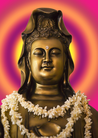 Kuan Shih Yin, Avalokiteshvara Bodhisattva, the Bodhisattva of Great Compassion. She has vowed to free all sentient beings from suffering.