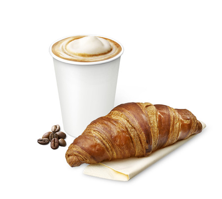 coffee with croissant 版權商用圖片