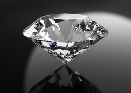 perfecte diamant geïsoleerd op zwart Stockfoto