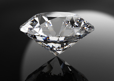 edelstenen: perfecte diamant geïsoleerd op zwart Stockfoto