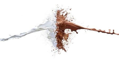 Schokolade und Milch-Splash