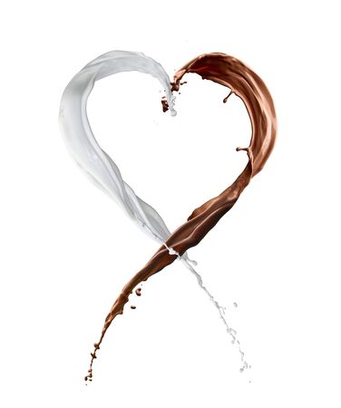 chocolate and milk heart  splash isolated on white