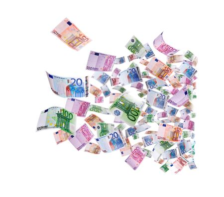 Flying 500 banknotes of euros isolated on white