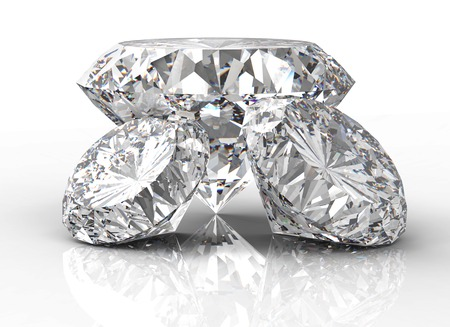 path to wealth: three diamonds isolated on a white back ground