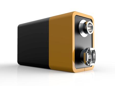 electrolyte: 9V battery isolated on a white back ground