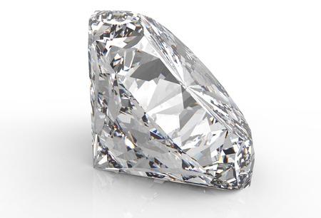 white back ground: one diamond isolated on a white back ground