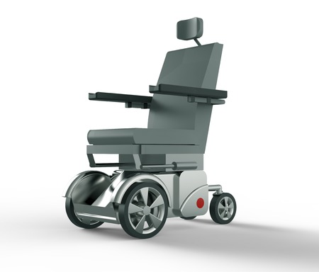white back ground: electric wheelchair isolated on a white back ground. Stock Photo