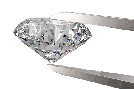 Diamond in tweezers isolated on a white back ground