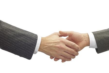 buen trato: darse la mano en un buen negocio aisladas en blanco