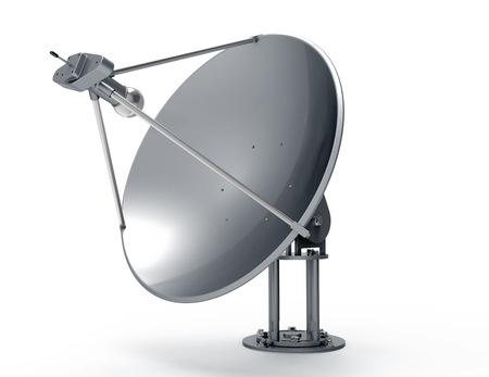 antena parabolica: Parab�lica aislado en blanco de nuevo terreno Foto de archivo