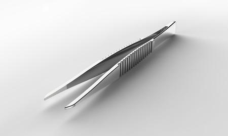 metallic tweezers isolated on a white background. Standard-Bild
