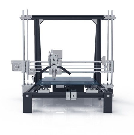 white back ground: 3D printer isolated on a white back ground. Stock Photo