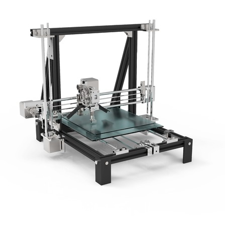 3D printer isolated on a white background. Imagens