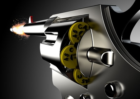 gunshot: Gunshot from gun isolated on black background. Stock Photo