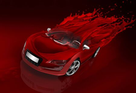 fast car: Concept car with fast red splashes nice image