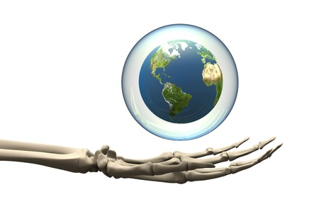 soap sud: Skeleton Hand holding globe in bubble