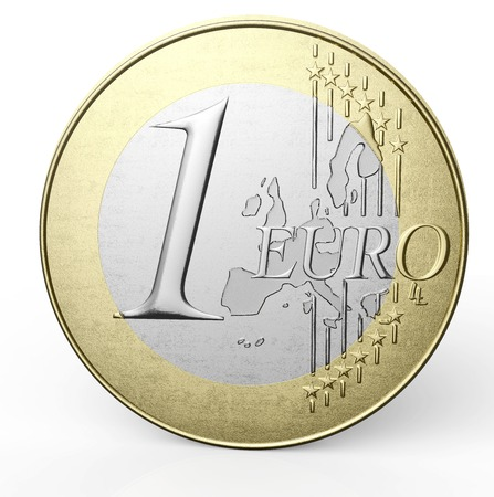 one euro coin isolated on a white background.