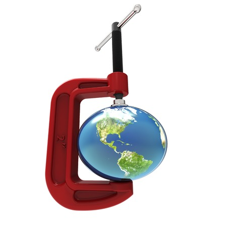 pressured: The earth being pressured by a G-clamp