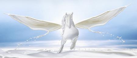 White Pegasus made out of milk splashes. Imagens