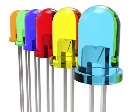 leds: LEDs de diferentes colores aislados sobre un fondo blanco.