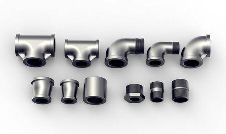 Metall-Rohrverbindungsstücke auf einem weißen Hintergrund.