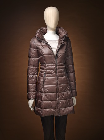 manequin: womens jacket on a manequin isolated on a brown background. Stock Photo