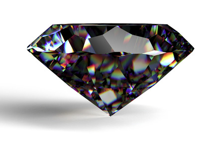 diamante negro: diamante negro aislado en el fondo blanco Foto de archivo