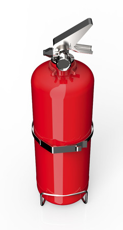 inflammable: red fire extinguisher isolated on white