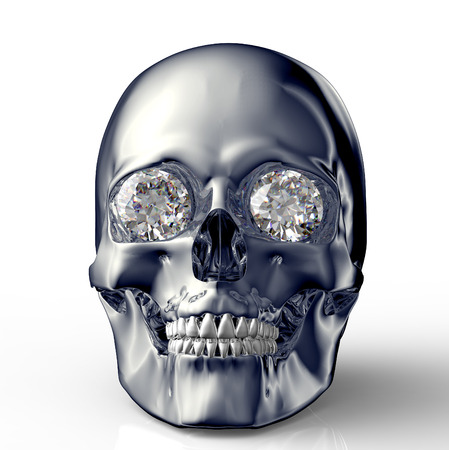 scull with diamond eyes isolated on white