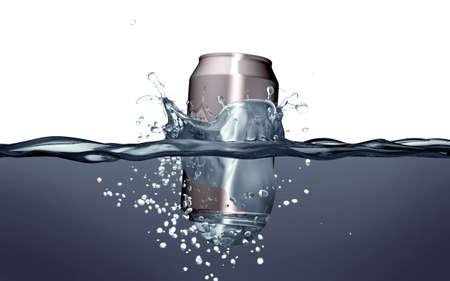 lata de refresco: lata de refresco throwed a la contaminaci�n toma de agua.