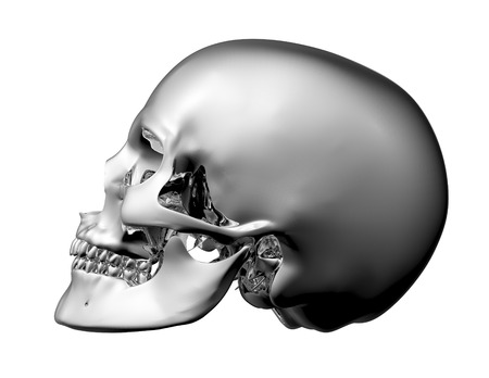 metal scull isolated on white with clipping path.