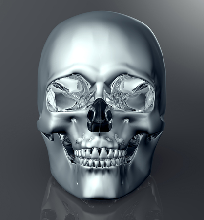 sapiens: metal scull isolated on dark background with clipping path.