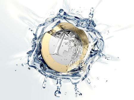 dreamlike: euro coin is falling into a Wishing Well