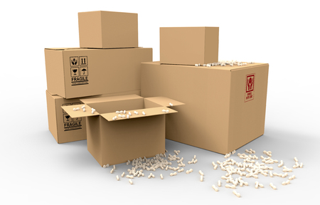 removals: Multiple brown cardboard packing boxes in a variety of sizes stacked on on top of the other in a pile for storage, packaging for mail or removals