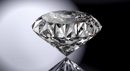 光沢のある背景に分離された完璧なダイヤモンド