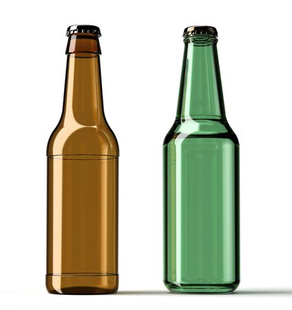 beer bottle: brown and green beer bottle isolated on a white background