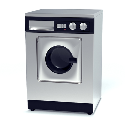 machine made: laundry machine made of metal isolated on white